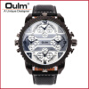 Fashion Quartz Luxury Brand OULM Watches 4 Time Zone watches Men Leather Military Watch for Men Wristwatches Relogio Masculino longbo luxury dual time display men s quartz watches men fashion wristwatches leather watchband date military sport watch 3016