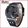 oulm 9591 sports brand multiple time zone military japan quartz movement leather strap men military wrist watch weide new men quartz casual watch army military sports watch waterproof back light men watches alarm clock multiple time zone