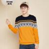 Semir (Semir) весной и осенью свитер шею свитер мужчин ударил цвет пуловер свитер мужской студент 10,315,071,009 тон синий и желтый M