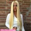 Полные кружевные человеческие волосы Парики Светлые блондинки 613 бразильских волос прямые гнусные кружева передние человеческие волосы Парики для черно-белых женщин