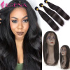 Фото Straight 360 Lace Frontal With Bundle 3 Bundles With 360 Frontal Closure Бразильские прямые волосы Virgin 360 Frontal With Bundles