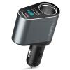 Вдоль (YANTU) автомобильного прикуривателя Автомобильное зарядное устройство зарядное устройство 3.1а Dual USB один с двумя серого обнаружения напряжения LED A92 зарядное устройство 100% pineng 10000mah pn 938 led dual usb pn938