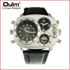Oulm HP9865 PC21S japan movement quartz watch with decorated compass dual time zone watch цена и фото