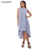 Cocoepps новые летние Straped женское платье Мода  г. плюс Размеры женский  Длинные Платья повседневные свободные синий длинные летние платья 2014 фото