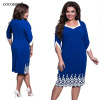 COCOEPPS 6XL 5XL Lace Patchwork Women Dress 2017 Summer Plus Размер офис Большой большой размер платья повседневные синие платья повседневные платья