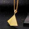 U7 Egyptian Pyramids Chain & Pendant Necklace Gold Plated/ Steel Neclaces Men/Women Jewelry