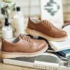 Си RUXI глубокий рот обувь женские туфли круглые плоские кружева Баллок вырезаны желтовато-коричневые ботинки 38