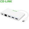 CE-LINK 1676 Тип-C до Gigabit Ethernet Интерфейс USB3.0 + тип c Зарядный порт / сплиттер OTG Конвертер USB-C в RJ45 HUB расширенная кабельная сетевая карта белый