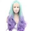 Anogol 2 тонов Body Wave Mint Green Ombre Фиолетовый термостойкий натуральный парик синтетический кружевной передний парик фиолетовый панк парик uni