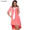 COCOEPPS 2017 Летняя мода Женщины 6XL Плюс размер платья с Tie Нерегулярные платья Повседневные платья Свободная одежда 4 цвета платья