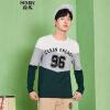 Semir (Semir) свитер мужчины осени мода мужчины вокруг шеи свитера свитера 14316071002 письма ударили цвет синих и белых цвета XL