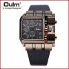 OULM 3364 Brand Original Rectangle Unique Design Men Wristwatch Wide Dial Leather Strap Quartz Watch oulm 3595 men three movt quartz watch rectangle dial canvas leather band wristwatch