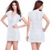 Sexy Women Lace Hollow Out Bikini Swimwear Cover Up Beach Dress Купальный костюм 2017 summer beach swimwear lace cover up pareo bikini tunic loose dress knitted white swimsuit cover up hollow out bikini pareo