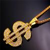 U7 Gold Plated Rhinestone Dollar Pendant Necklace Hip Hop Men /Women Jewelry Gift цена 2017