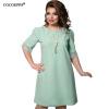 COCOEPPS 2017 Плюс Размер Женщины Кружевное платье Лето Пэчворк Дамы Офисные платья Вечернее свободное платье