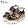 сандалии (-ия) 2017 круглый нос летняя обувь кожаная обувь обувь с пряжечной кожаная обувь
