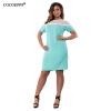Cocoepps Лето Большие размеры женские кружевные платья 2017 Элегантный большой Размеры лоскутное горошек Женское платье