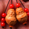 Chinese Traditional olive nut Carved Old couple worry beads charm bracelet Beaded Keychain a unique gift