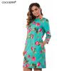 COCOEPPS Элегантный цветочный принт Повседневные платья для женщин 2017 большая женская одежда для женщин Осеннее платье для тела женская одежда для спорта