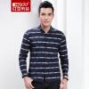 Красная фасоль Hodo мужская рубашка мужская мода полосы Slim хлопок пряжка длинный рукав мужская рубашка B5 тибетской молодежи 190 / 104B