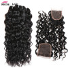 Unprocessed Brazilian Water Wave Virgin Hair 4 Bundles With Closure Brazilian Virgin Hair With Lace Closure Ishow Hair Products