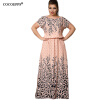 Cocoepps Summer 2017 Women's L-6XL Chiffon with Print Long Sleeve Short Sleeve Casual Floor-Length Big Size Maxi Dresses vestidos