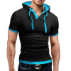 Мужская футболка 2017 Летняя мода с капюшоном Sling с короткими рукавами Тисная мужская футболка Slim Male Tops 4XL мужская футболка slim fit 4xl xu0030