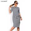 COCOEPPS Полосатая женщина осени одевает большие размеры НОВОЕ 2017 женщин одевает платье длины колена вскользь свободное платье