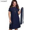COCOEPPS Элегантные Повседневные женщины синие платья большие плюс размеры 2017 женская одежда Летняя о-шея bodycon Шифон платье