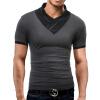 Бренд Мужская футболка 2017 Летняя твердая мода V-образным вырезом с короткими рукавами Тис мужская повседневная футболка Тонкие