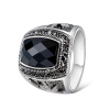 Yoursfs@   Punk Rock GothiC Retro Ring for men with Black Crystal & Cubic Zirconia Ring punk 45 original punk rock singles cover art