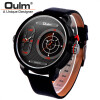 Oulm Unique Big Quartz Watch Flashing LED Function Two Time Zone Watches Men Fashion Brand Leather Wristwatch Sport Male Clock thermometer watch compass watch two time zone display dual movt quartz watch for men oulm 1349