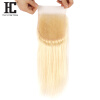 HC HAIR PRODUCTS 613 Blonde Lace Closure 4x4 Inch Brazilian Straight Human virgin Hair Free Part With Baby Hair Bleached Knots 7a none full lace human hair wigs short straight glueless unprocessed virgin brazilian lace front wig black women