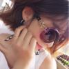Падение в любви (LianSan) солнцезащитных очки больших каркасных очков г-ж ремонта лица моды очков вождение зеркала 13038 прозрачного фиолетового