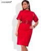 COCOEPPS Мода вскользь женщин Sequins одевает платье Turtleneck большого размера плюс размер одежды женщин 5xl 6xl платье