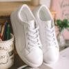 где купить Как Hee Ракси Уайт кожаные ботинки женщин обувь Корейский плоские ботинки круглые ботинки кружева белый 38 по лучшей цене