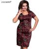 COCOEPPS 5XL 6XL 2017 Летние женщины плюс размер платья Sexy Элегантный O-Шея Party Office Роза Цветочные печати платья одежды платья