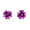 Yoursfs 18k Rose Gold Plated Beautiful Crystal Blue Rose Flower Wedding Stud earrings 18k rose gold plated rhinestone awesome swan stud earrings golden pair
