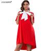 COCOEPPS 2017 Летняя мода Женщины 6XL Плюс размер платья с Tie Нерегулярные платья Повседневные платья Свободная одежда 4 цвета повседневные платья