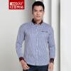 Мужская рубашка Red Bean Hodo Мужская мода Полосатая мужская рубашка Тонкая рубашка с длинным рукавом B1 Blue 190 / 104B