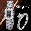 Роскошные часы браслет горный хрусталь женские серебряные наручные часы с кольцом дамы Кварцевые часы часы platinor женские серебряные наручные часы 98306 506