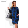 COCOEPPS офисные платья для женщин 2017 плюс размер 5xl 6XL зимнее платье casual o-neck Work bodycon Платье
