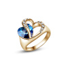 Yoursfs@ 18K  Gold Plated Hold Your Heart Hollow Out Designed Sapphire Blue Crystal Rings Women