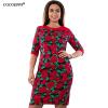 COCOEPPS 2017 Цветочные печати Женщины платье большой размер Элегантный полу рукавом летнее платье Большие размеры Офисное платье