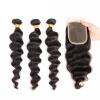 QDKZJ бразильская свободная волна 3 связки с закрытием пачки волос с кружевом закрытие бразильских волос Virgin с закрытием дешевый человек дешевый