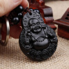 Chinese Traditional Wood Products Ebony Wood Good Luck Peace Winding Maitreya Car Key Ring Pendant Keychain good fortune lucky keychain wood car bag purse keychain keyring amulet pendant boxwood wooden inlay woodwork key accessories