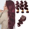 Горячая распродажа!!! 99j Бразильские волосы с закрытием Красное вино Бразильская волна тела с закрытием Пакеты человеческих волос с закрытием