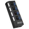 4 порта индивидуальных переключателя питания USB 3.0 концентратор со светодиодной подсветкой