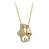 yoursfs ® 18k rose позолоченные любовь кошки ожерелье использовать австрийский кристалл моды камней ожерелье lola rose ожерелье