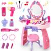 Крюк детские игрушки играть дома принцессы ребенка девушка макияж тщеславия столы и стулья реквизита 3-5 лет подарок на день рождения розовый туалетный столик
